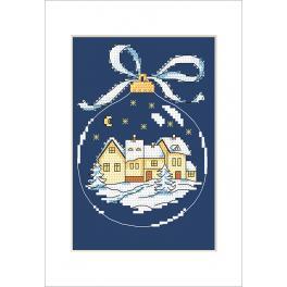 Stickpackung mit Stickgarn und Karte - Karte - Weihnachtskugel mit Stadt