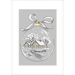 Stickpackung mit Stickgarn und Karte - Karte - Weihnachtskugel mit Hütte