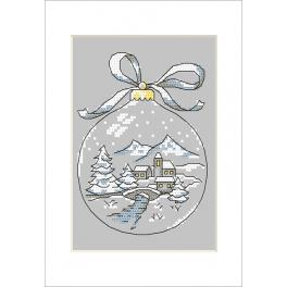 Stickpackung mit Stickgarn und Karte - Karte - Weihnachtskugel mit Schneemann