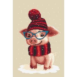 Zählmuster - Winterschweinchen