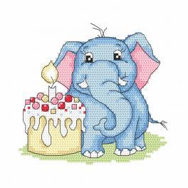 W 10241 Zahlmuster ONLINE - Elefant - Mein 1. Geburtstag