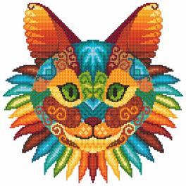 Set mit Aida mit Aufdruck und Stickgarn - Katzenkaleidoskop