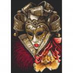 Set mit Aida mit Aufdruck und Stickgarn - Karnevalmaske