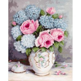 Stickpackung - Rosen und Hortensien
