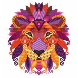 Set mit Aida mit Aufdruck und Stickgarn - Bunter Löwe