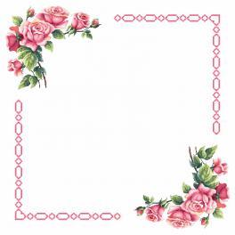 Zahlmuster online - Tischdecke mit romantischen Rosen