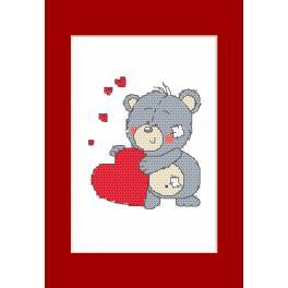 Zählmuster - Valentinstagskarten - Bär
