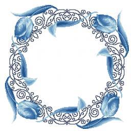 Zählmuster - Serviette mit blauen Tulpen