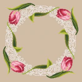 Zählmuster - Serviette mit Tulpen