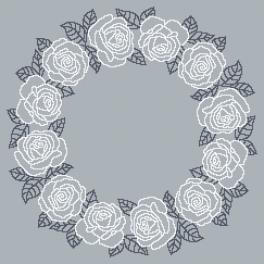 Zählmuster - Serviette mit weißen Rosen