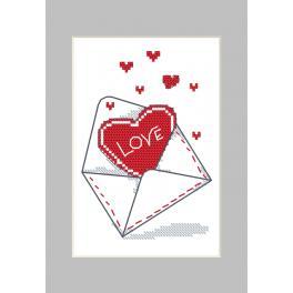 Stickpackung mit Stickgarn und Karte - Karte - Umschlag mit Herzen