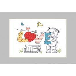 Stickpackung mit Stickgarn und Karte - Karte - Bärenwäsche