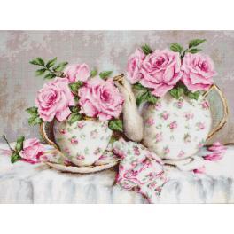 Stickpackung - Morgentee mit Rosen