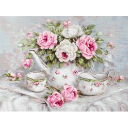 Stickpackung - Englischer Tee mit Rosen