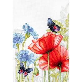 Stickpackung - Mohnblumen und Schmetterlinge