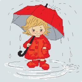 W 10411 Zahlmuster ONLINE - Mädchen mit Regenschirm