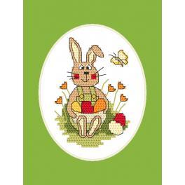 Stickpackung mit Stickgarn und Karte - Osternkarte - Häschen