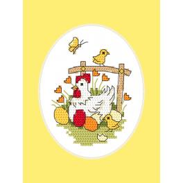 Zählmuster ONLINE -Osternkarte - Hühnchen mit Küken