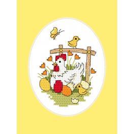 ZU 10252-01 Stickpackung mit Stickgarn und Karte - Osterkarte - Hühnchen mit Küken