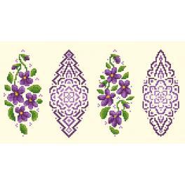 Zählmuster online - Osterei mit Veilchen