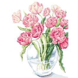 Set mit Aida mit Aufdruck und Stickgarn - Fabelhafte Tulpen