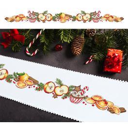 ZU 10197 Stickpackung mit Stickgarn und Tischläufer - Langer Weihnachtsläufer