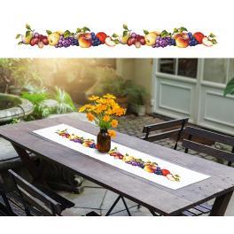 ZU 10191 Stickpackung mit Stickgarn und Tischläufer - Langer Tischläufer mit Früchten