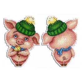 Stickpackung - Anhänger - Winterschweinchen