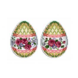 Stickpackung mit Stickgarn und Perlen - Anhänger - Osterei