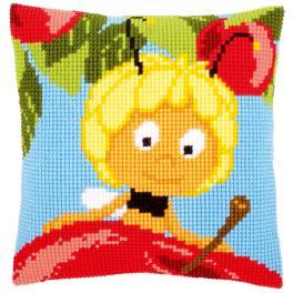 VPN-0156384 Kreuzstichkissen - Maja auf einem Apfel