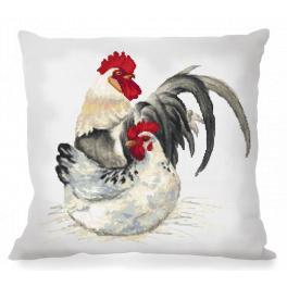 Stickpackung mit Kissenbezug - Kissen mit Hahn und Hühnchen