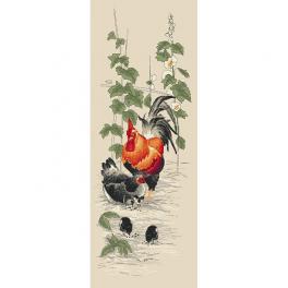 Stickpackung - Hahn und Henne