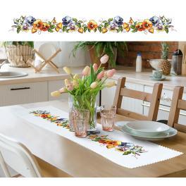 ZU 10422 Stickpackung mit Stickgarn und Tischläufer - Langer Tischläufer mit Stiefmütterchen