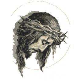 Set mit Aida mit Aufdruck und Stickgarn - Jesus in Dornenkrone