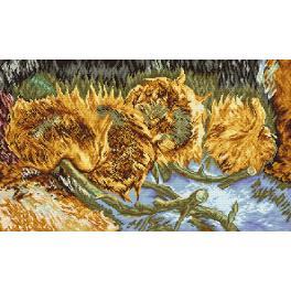 Set mit Aida mit Aufdruck und Stickgarn - Vier geschnittene Sonnenblumen - V. Van Gogh