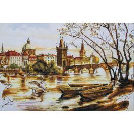 NCP 2225 Stickpackung mit Stickgarn und Hintergrund - Prag. Karlsbrücke