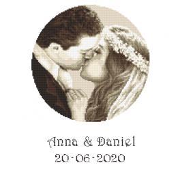 ZN 10277 Set mit Aida mit Aufdruck und Stickgarn - Hochzeitsandenken - Brautpaar