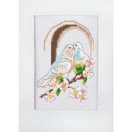 Zählmuster - Hochzeitskarte - Tauben