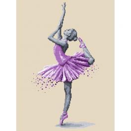 ZN 10269 Set mit Aida mit Aufdruck und Stickgarn - Baletttänzerin - Tanzmagie