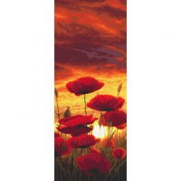 Stickpackung - Sonnenuntergang mit Mohnblumen