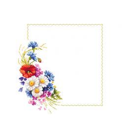 Stickpackung mit Stickgarn und Serviette - Serviette mit Feldblumen