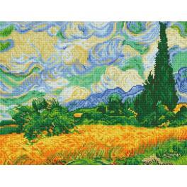 Diamond Painting Set - Weizenfeld mit Zypressen - V. van Gogh