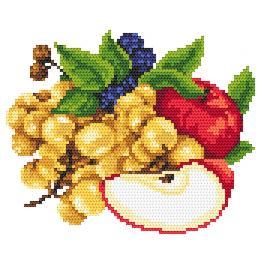 Zahlmuster online - Äpfel mit Weintrauben