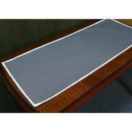 986-11 Tischläufer Aida mit Spitze 40x90 cm schwarzgrau