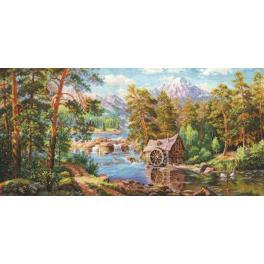 Stickpackung - Landschaft mit Wassermühle