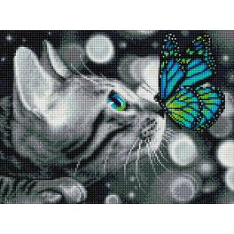 Diamond Painting Set - Bengalkatze und Schmetterling
