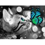Diamond Painting Set - Bengalkatze und Schmetterling