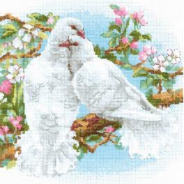 Set mit Wollgarn - Weiße Tauben