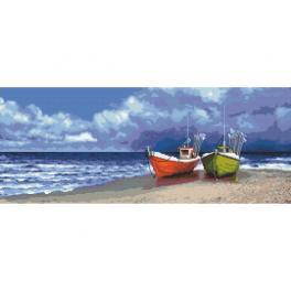 ZN 10284 Set mit Aida mit Aufdruck und Stickgarn - Kutter am Meer