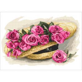 Stickpackung - Rosenstrauß im Hut